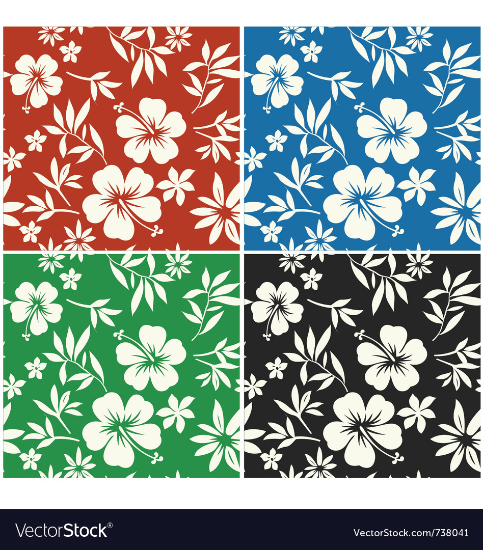 Hibiscus flower seamless fabric textile vector | Price: 1 Credit (USD $1)
