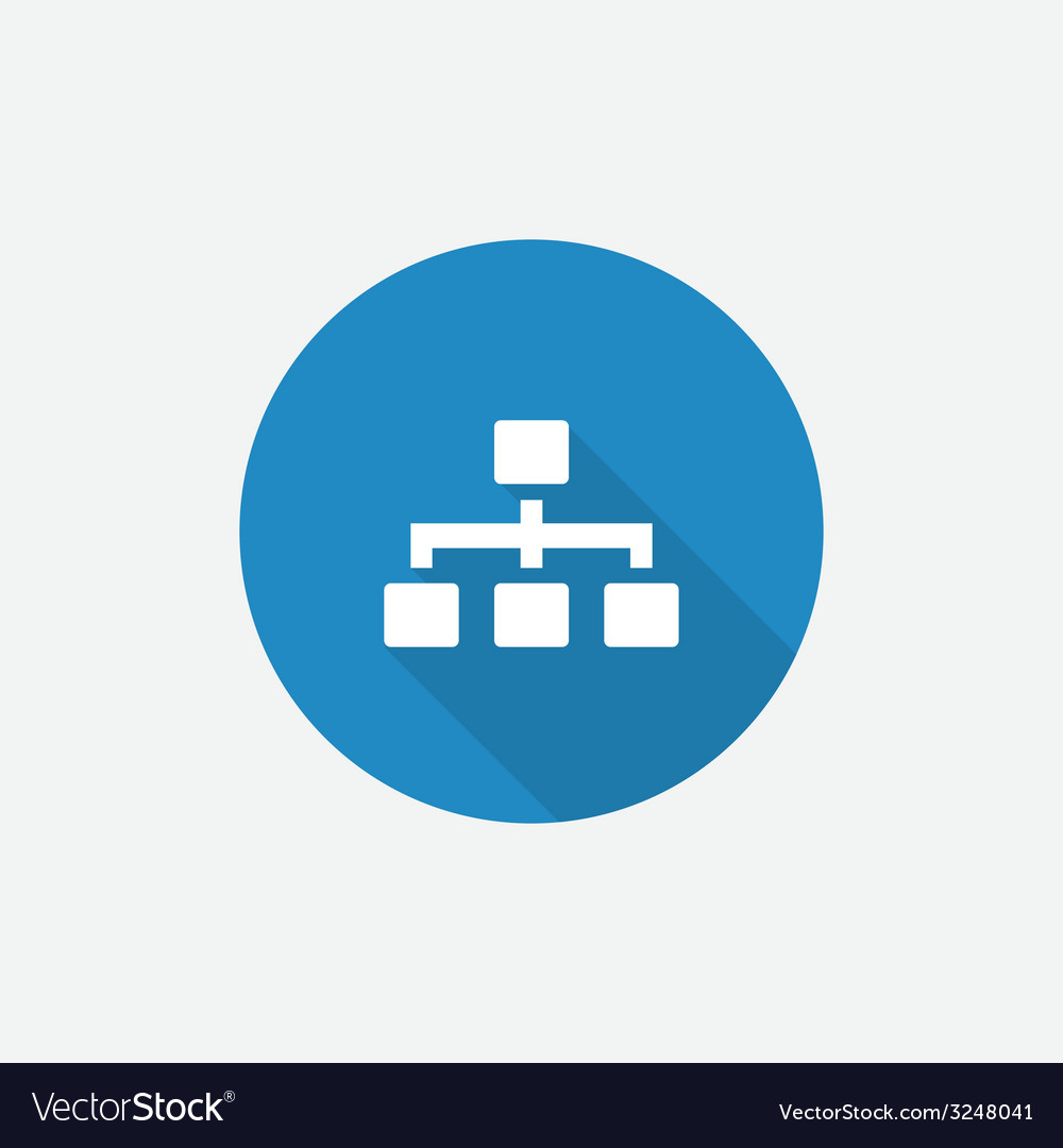 Hierarchy flat blue simple icon with long shadow vector | Price: 1 Credit (USD $1)