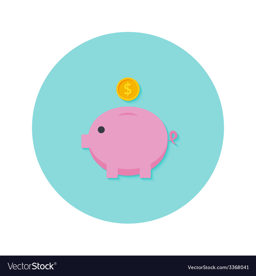 Money pig with dollar coin flat icon vector | Price: 1 Credit (USD $1)