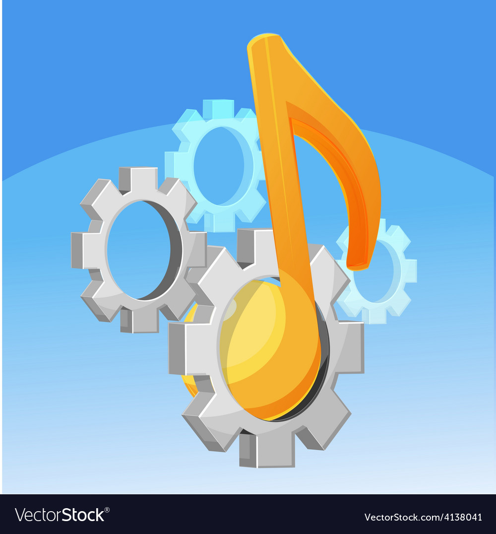Music note gear fixed vector | Price: 1 Credit (USD $1)