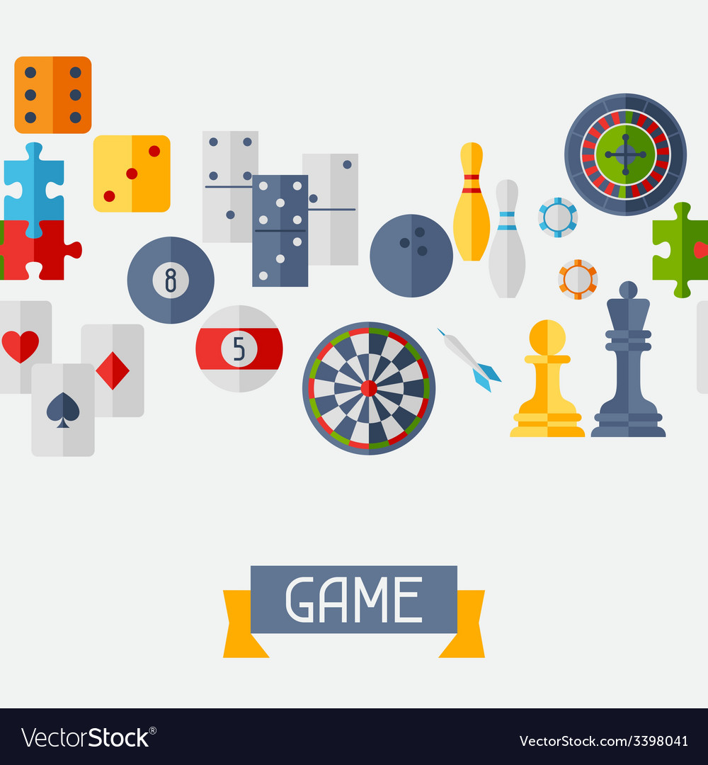 Seamless pattern with game icons in flat design vector   Price: 1 Credit (USD $1)