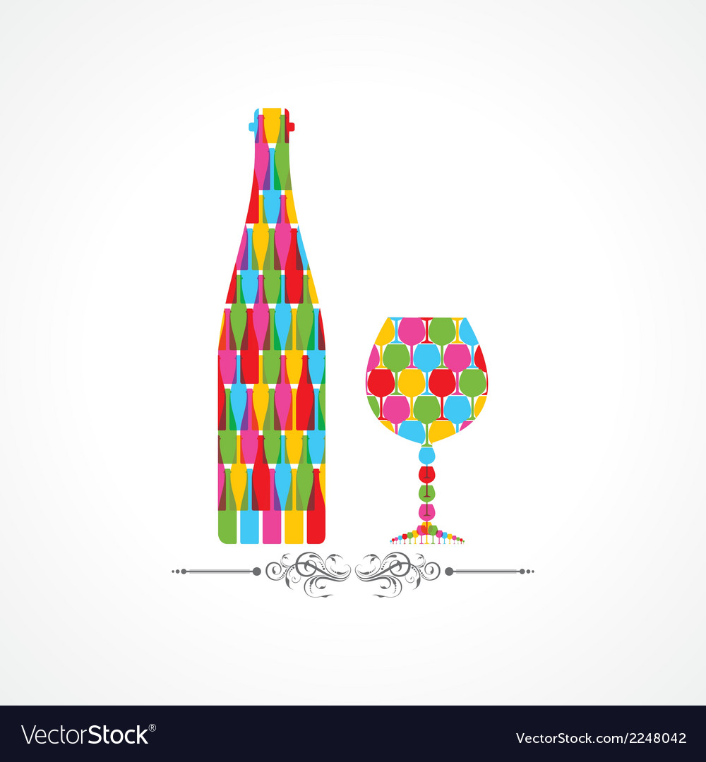 Colorful wine bottle and glass vector