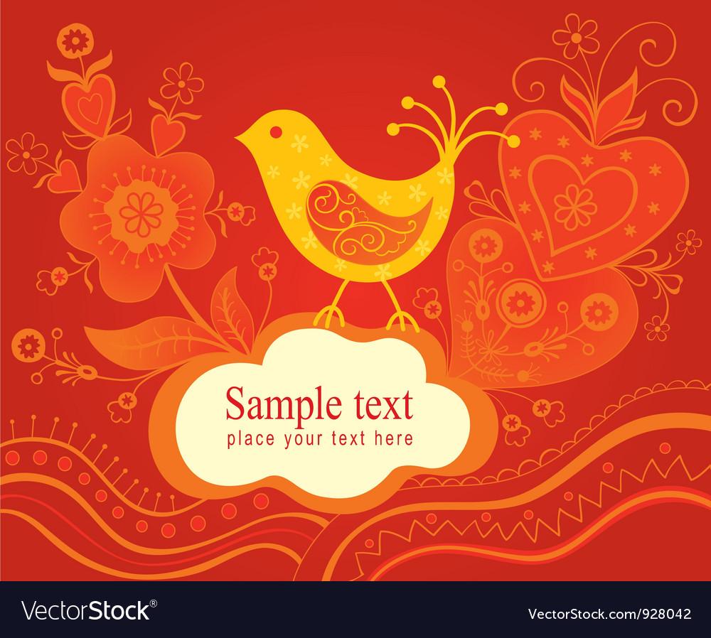 Decorative background with bird vector | Price: 1 Credit (USD $1)