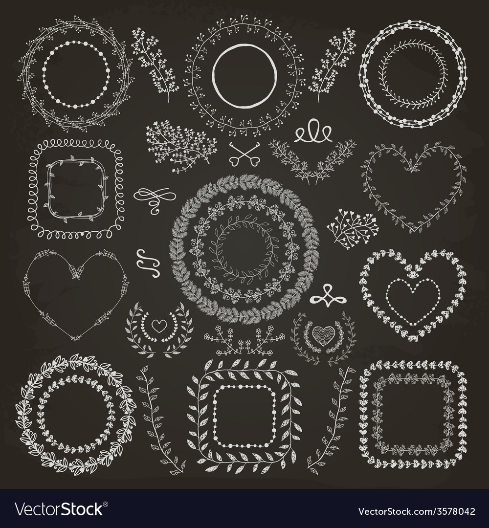 Hand-drawn floral frames vector | Price: 1 Credit (USD $1)
