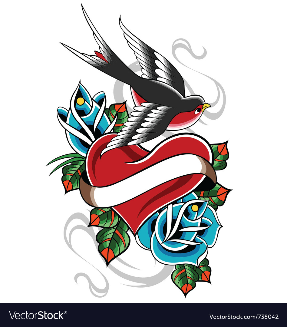 Heart tattoo emblem vector | Price: 3 Credit (USD $3)