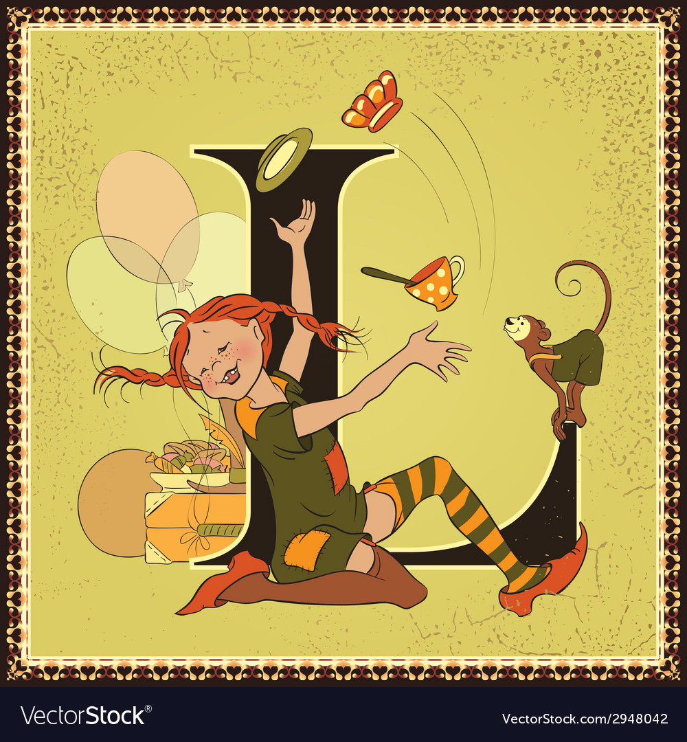 Letter l pippi longstocking vector | Price: 3 Credit (USD $3)