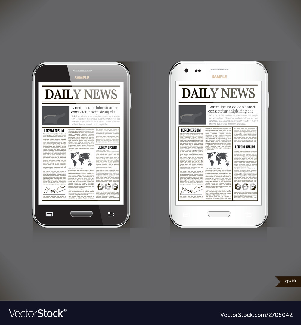 Modern smart phone with business news article vector | Price: 1 Credit (USD $1)