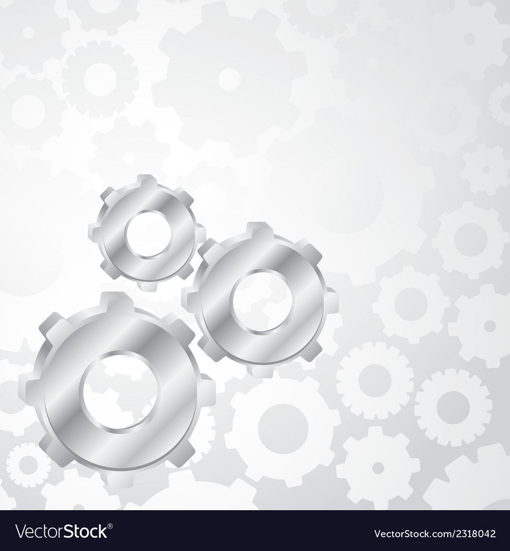 Silver gears on a background of gears vector | Price: 1 Credit (USD $1)