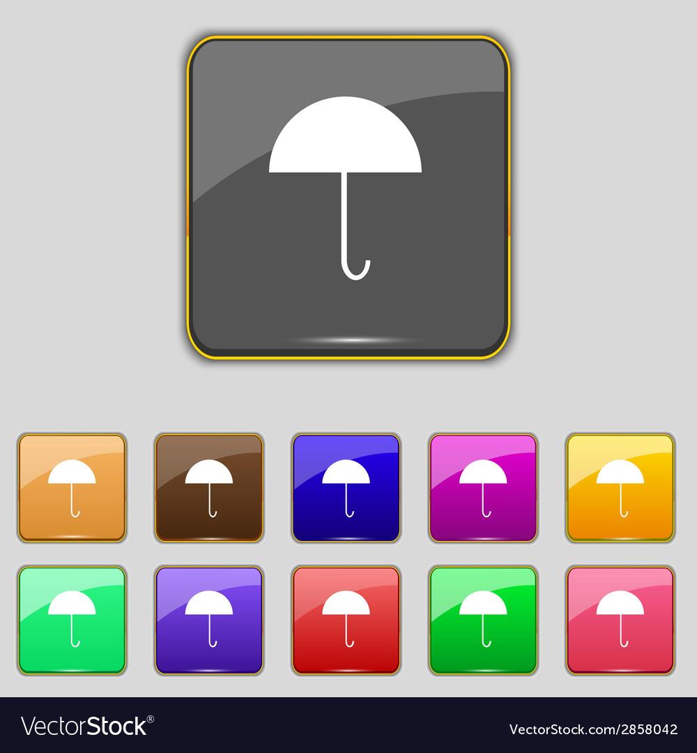 Umbrella sign icon rain protection symbol set vector | Price: 1 Credit (USD $1)
