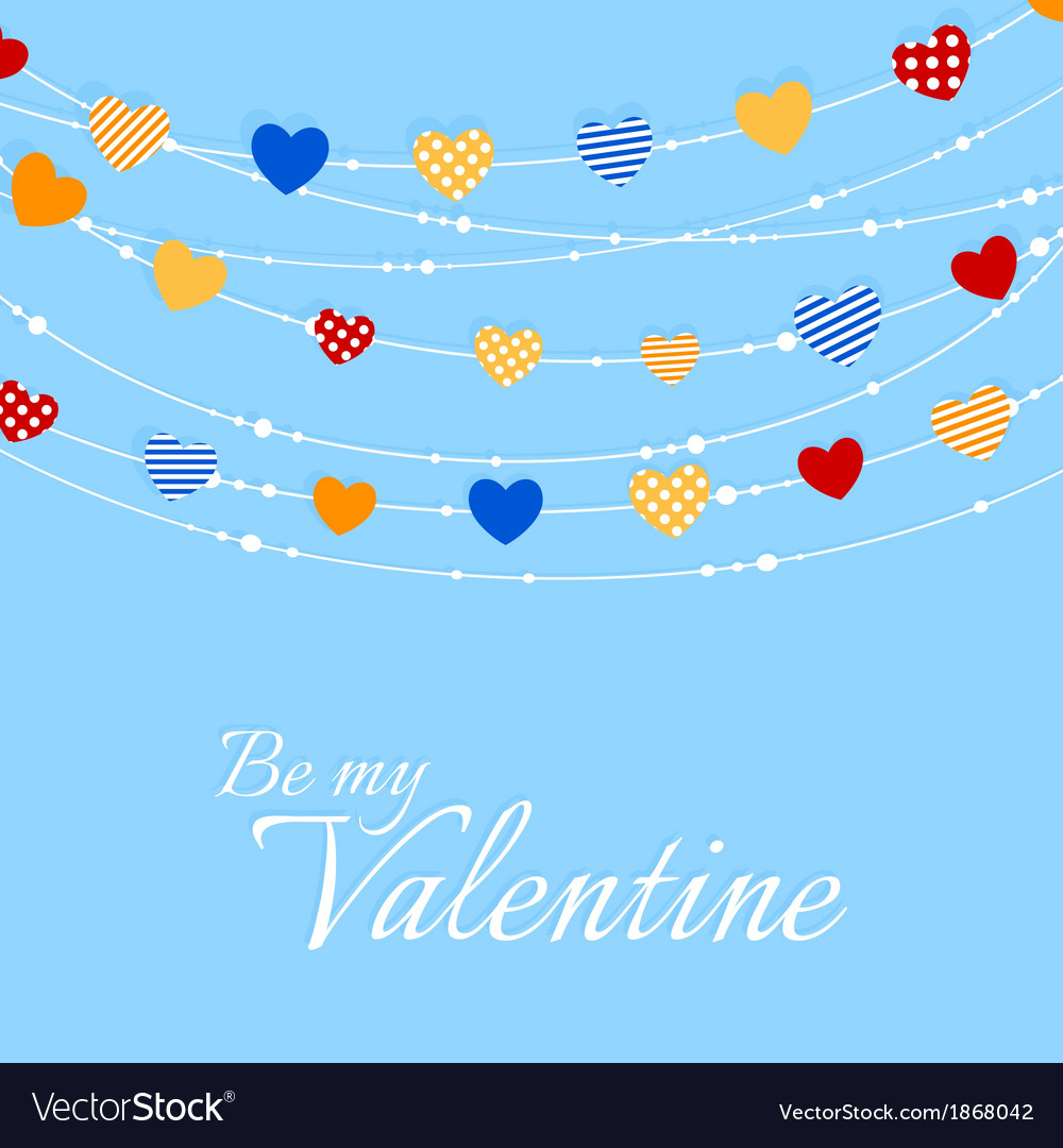Valentine background with joyful heart bunting vector | Price: 1 Credit (USD $1)