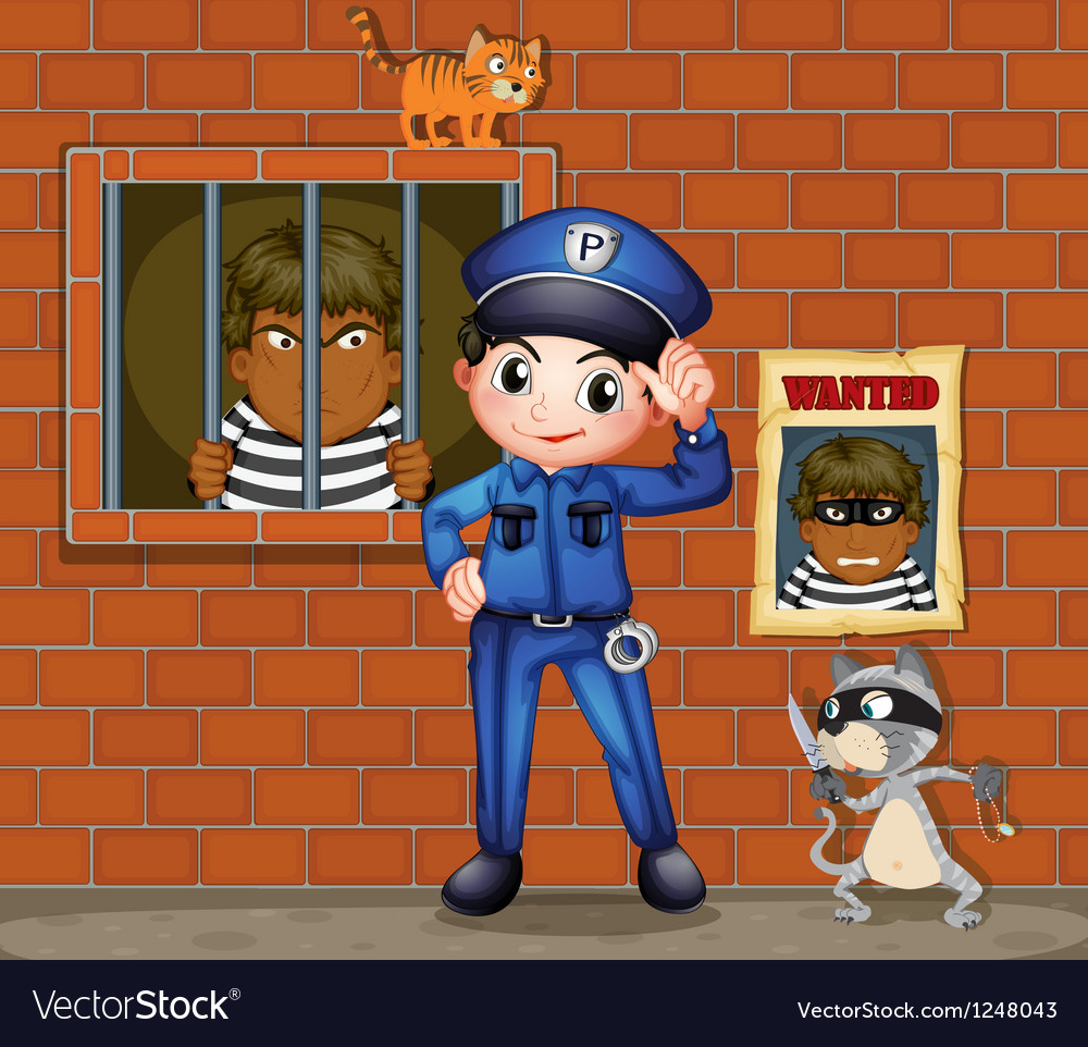 A policeman in front of a jail with two cats vector | Price: 1 Credit (USD $1)