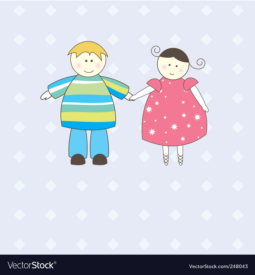 Boy and girl illustration vector | Price: 1 Credit (USD $1)