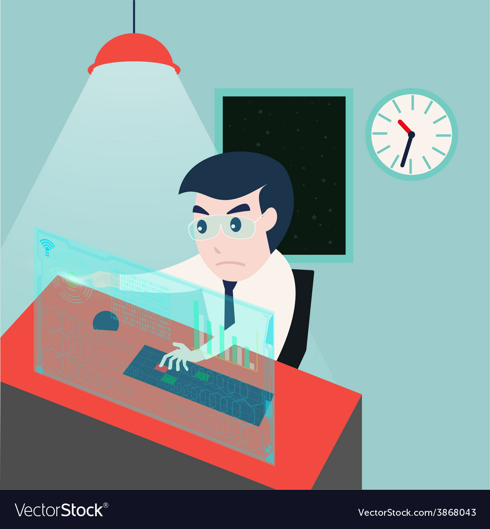Businessman working late at night in the office vector | Price: 1 Credit (USD $1)