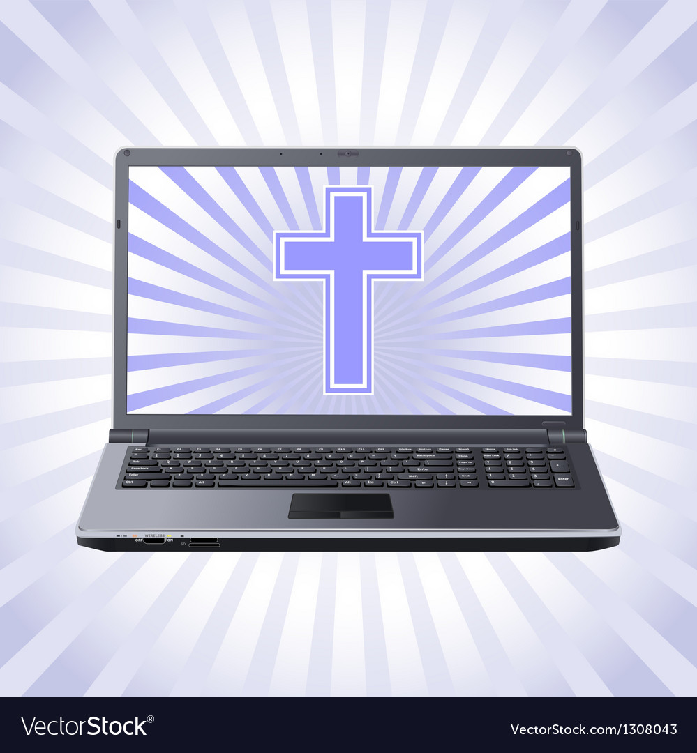 Cross and laptop vector | Price: 1 Credit (USD $1)