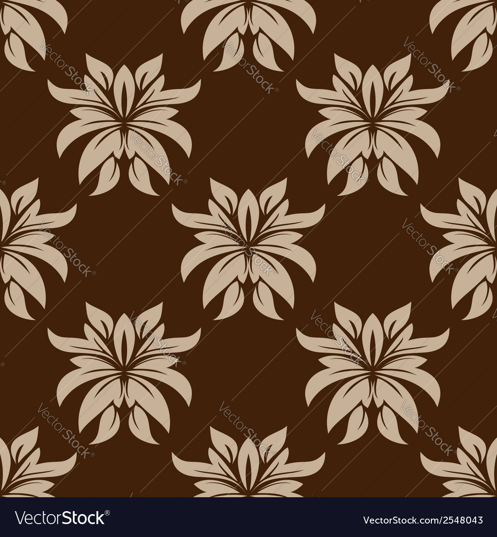 Dainty brown floral seamless pattern vector | Price: 1 Credit (USD $1)