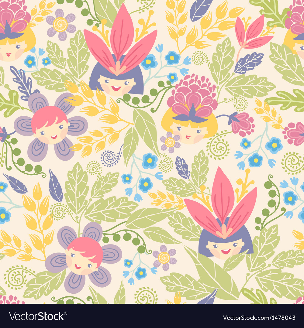 Flower girls seamless pattern background vector | Price: 1 Credit (USD $1)