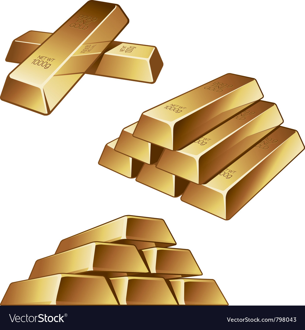 Gold bars on white background vector   Price: 1 Credit (USD $1)