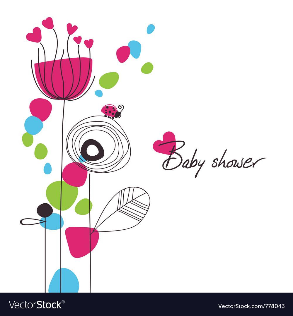Happy floral baby shower vector | Price: 1 Credit (USD $1)
