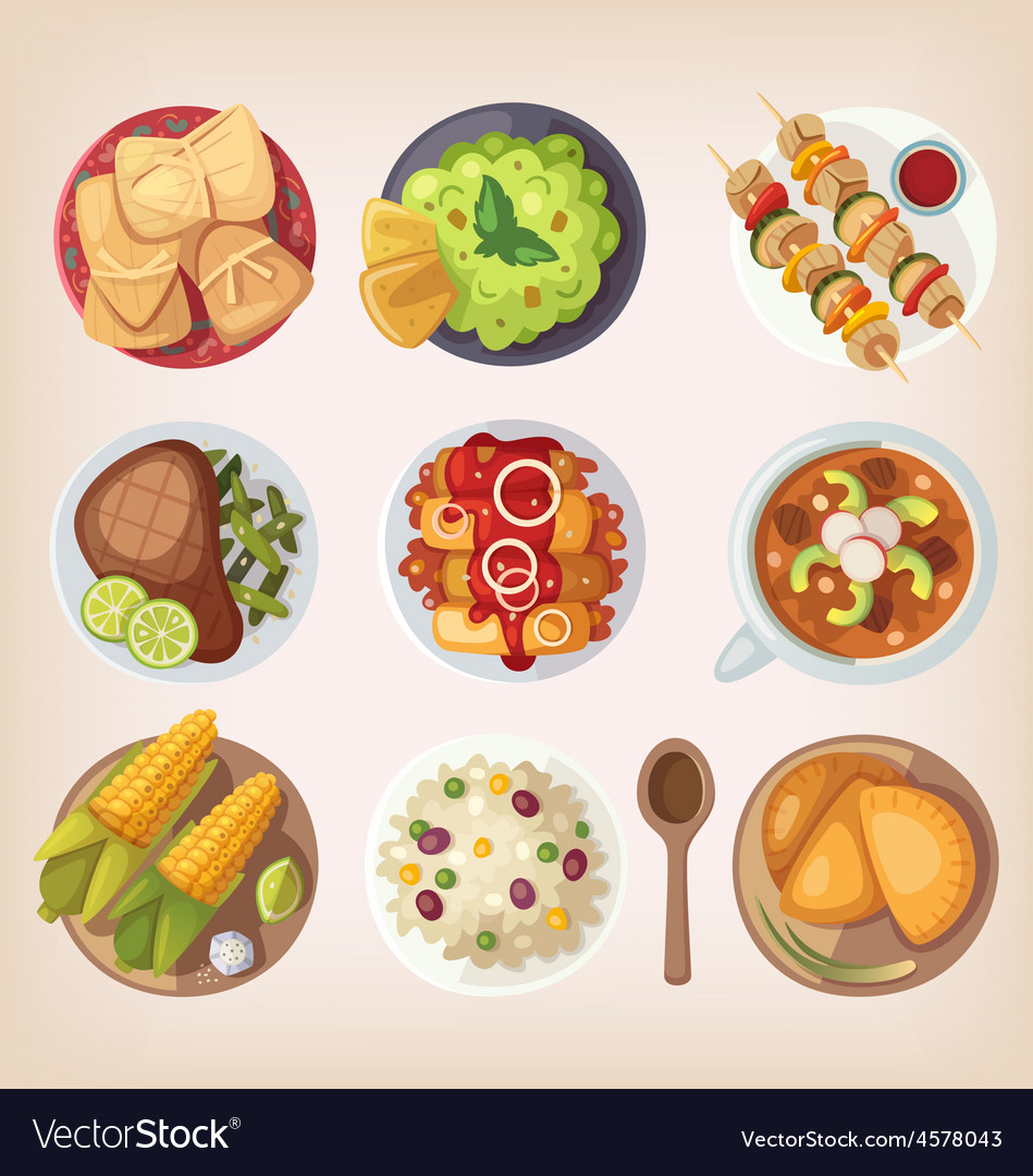 Mexican food icons vector | Price: 5 Credit (USD $5)