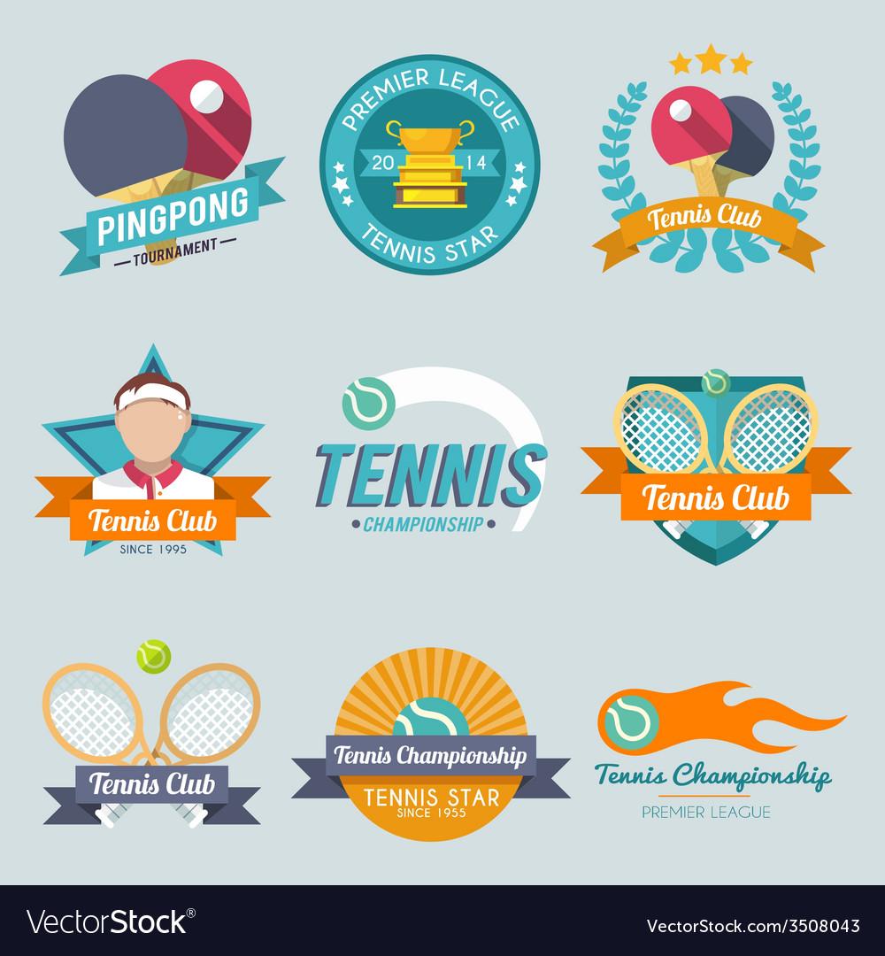 Tennis label set vector   Price: 1 Credit (USD $1)
