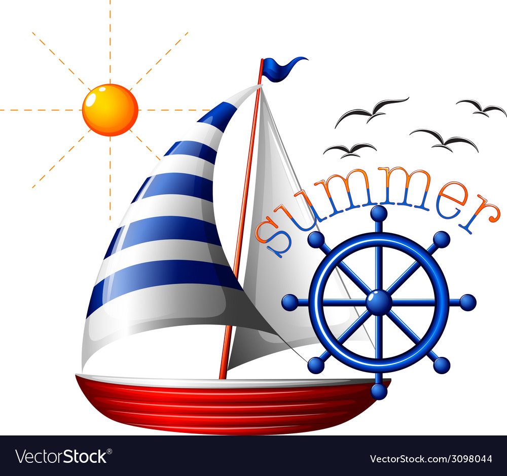 A summer template with a boat vector | Price: 1 Credit (USD $1)