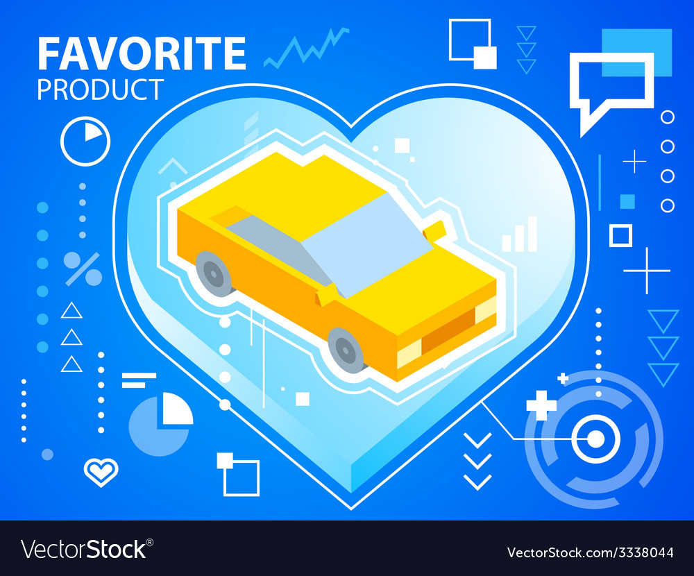 Bright heart and car on blue background for vector | Price: 3 Credit (USD $3)