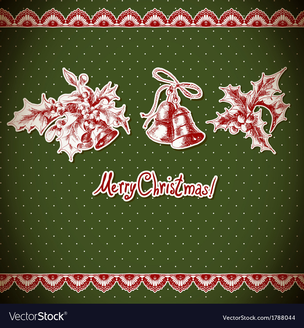 Christmas holly and bell vintage background vector | Price: 1 Credit (USD $1)