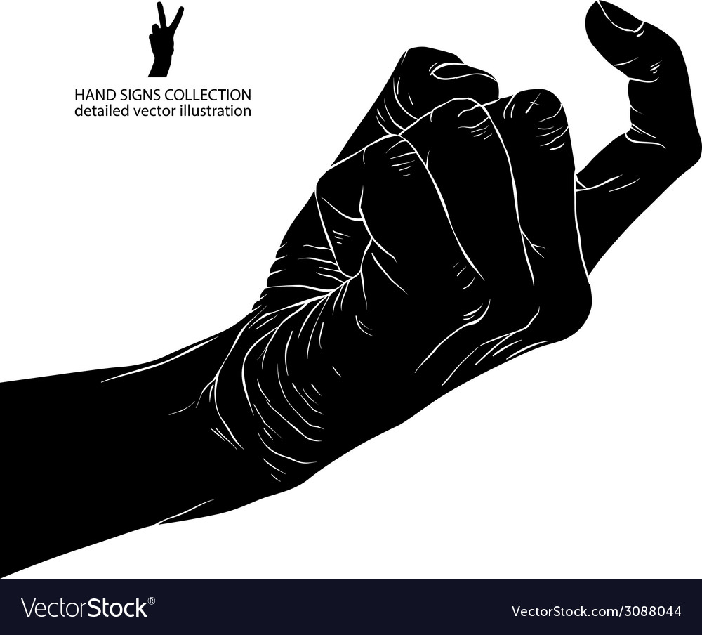 Come on hand sign detailed black and white vector   Price: 1 Credit (USD $1)