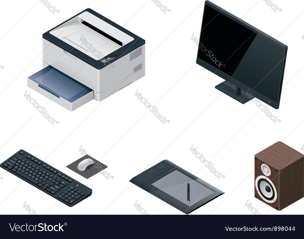 Computer devices icon set vector | Price: 3 Credit (USD $3)