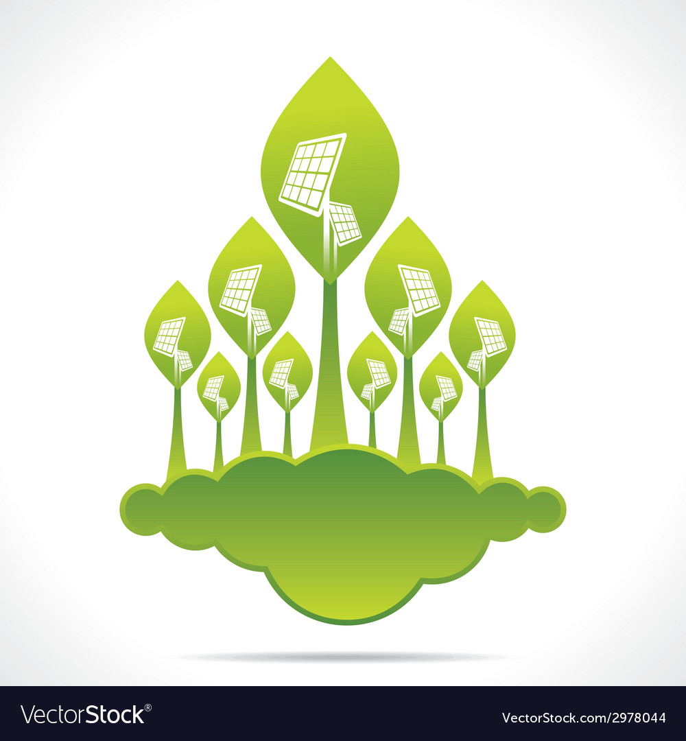 Creative green forest of solar panel background vector | Price: 1 Credit (USD $1)