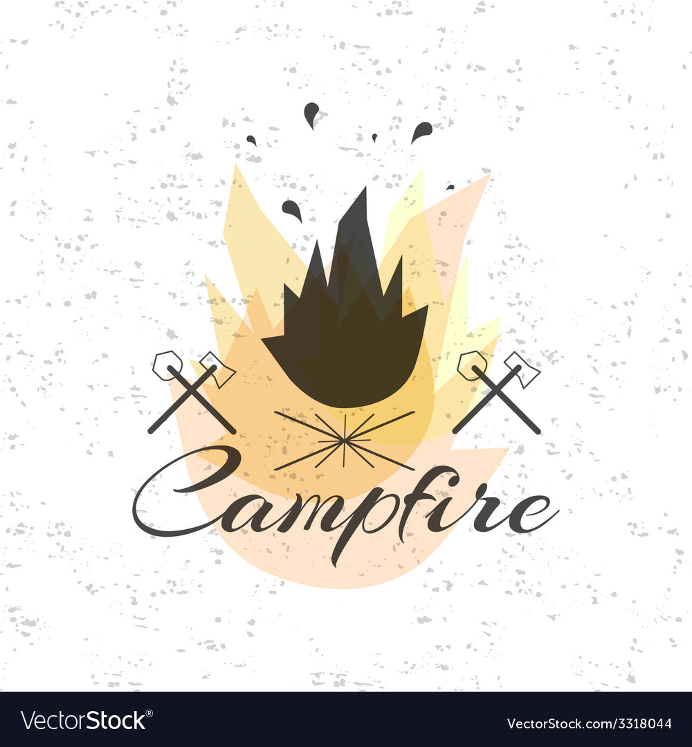 Print on t shirt design theme of the campfire vector | Price: 1 Credit (USD $1)