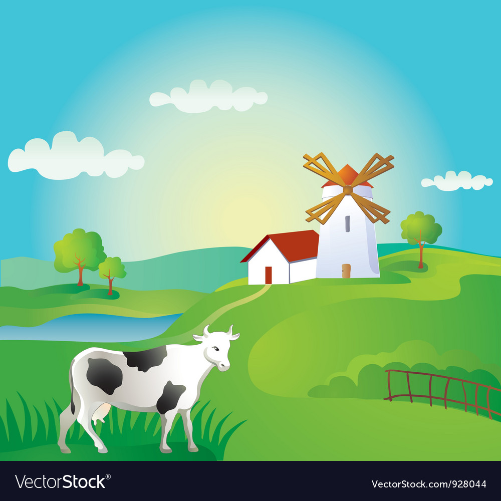 Rural landscape with cow vector | Price: 3 Credit (USD $3)