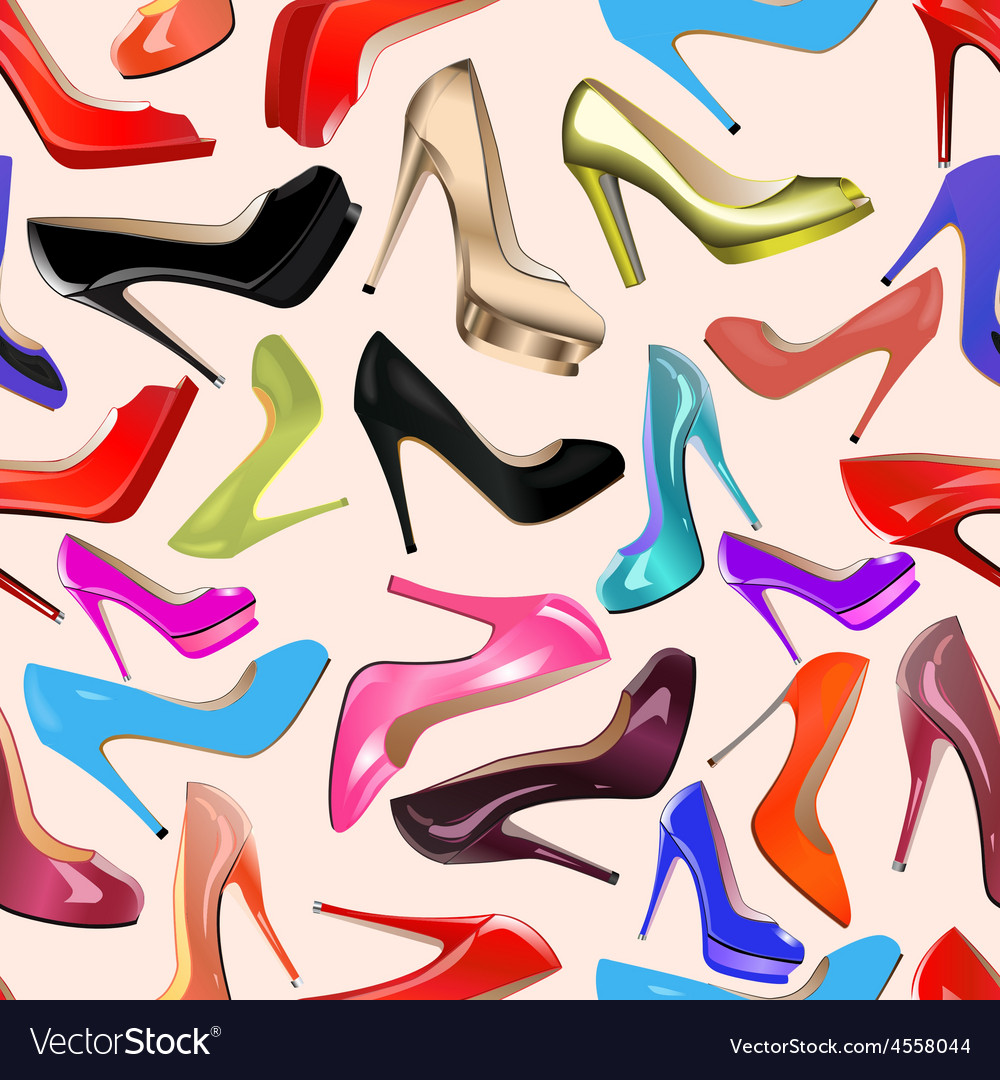 Seamless background of fashionable womens shoes vector | Price: 1 Credit (USD $1)
