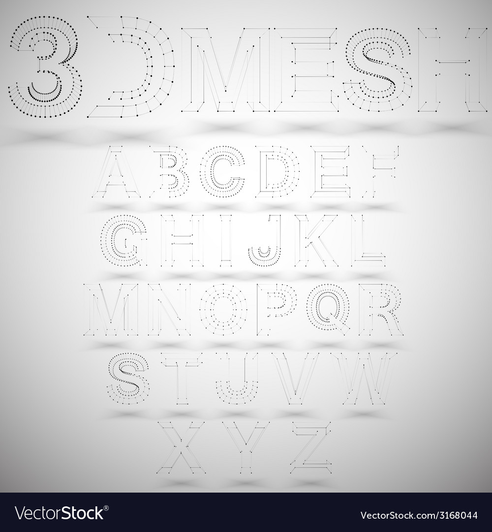 Three dimensional mesh stylish alphabet on white vector | Price: 1 Credit (USD $1)