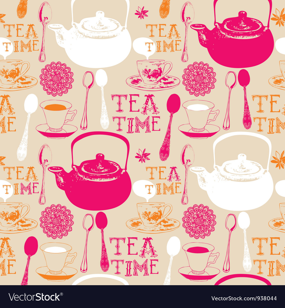 Vintage love tea pattern vector | Price: 1 Credit (USD $1)