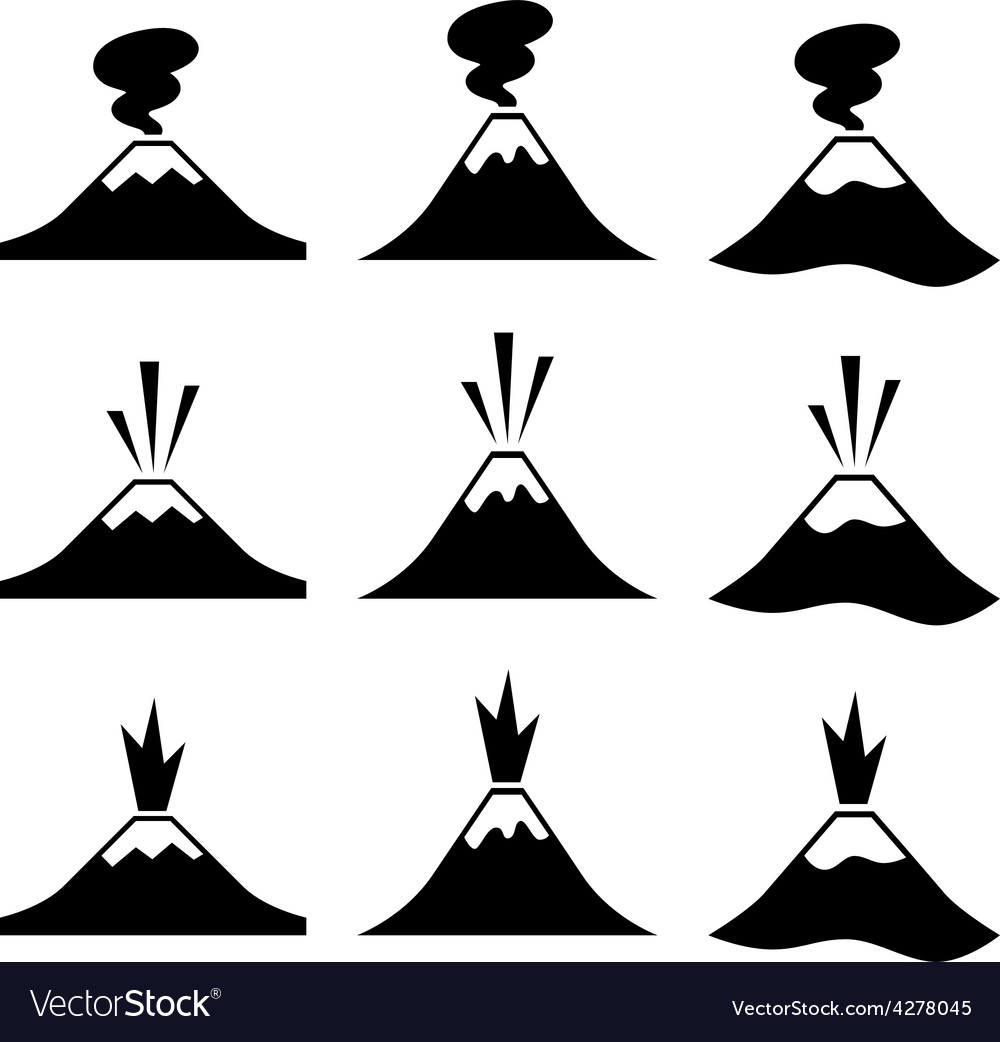 Active erupting volcano pictograms vector | Price: 1 Credit (USD $1)