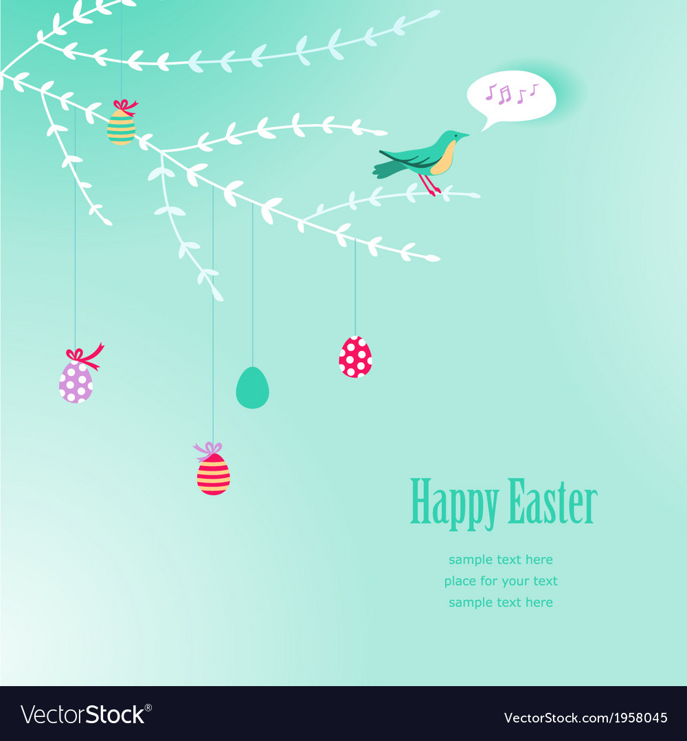 Branch easter background vector | Price: 1 Credit (USD $1)