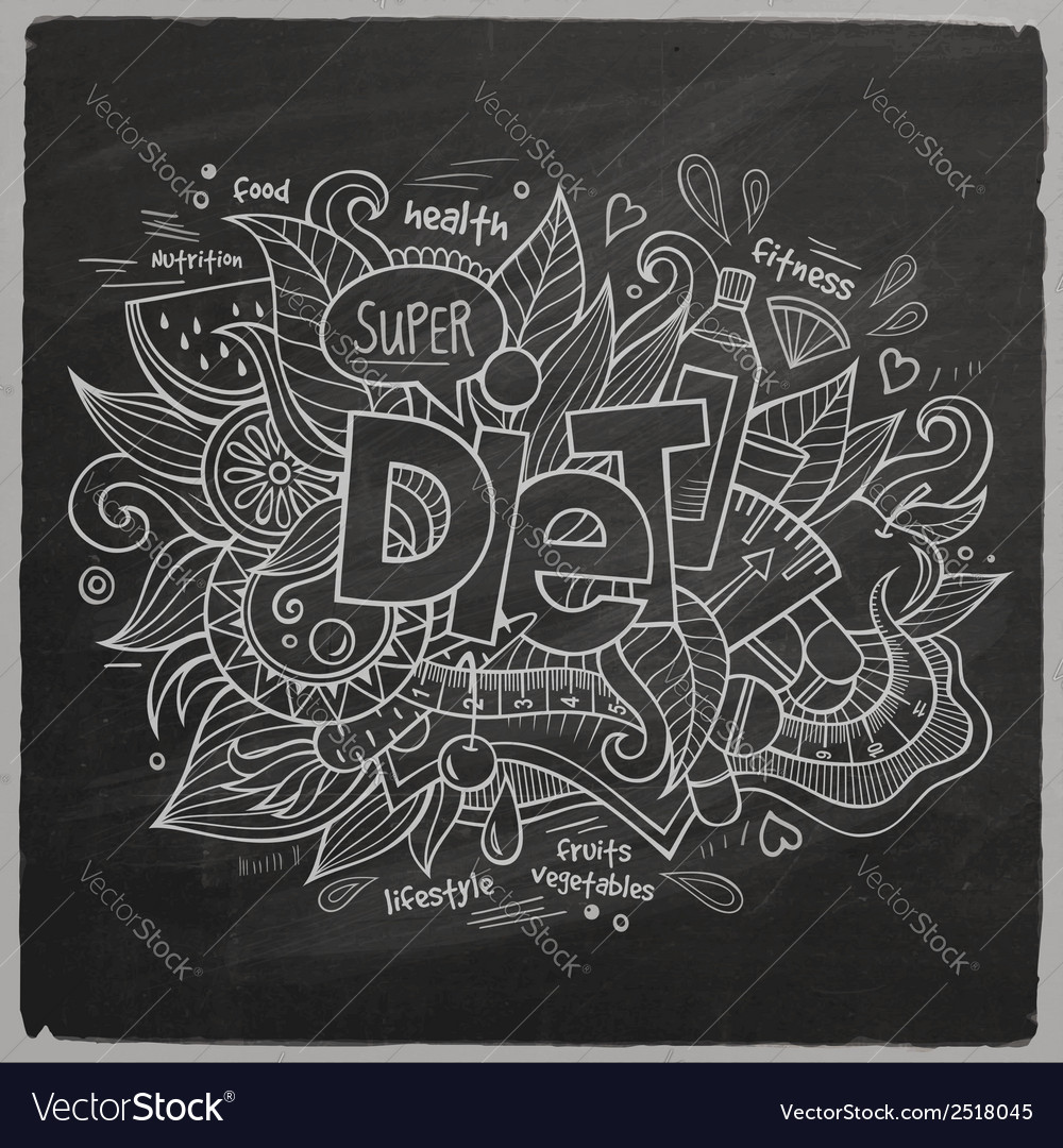 Diet hand lettering on chalkboard vector | Price: 1 Credit (USD $1)