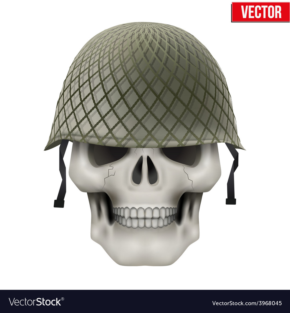 Human skull with military helmet vector | Price: 1 Credit (USD $1)