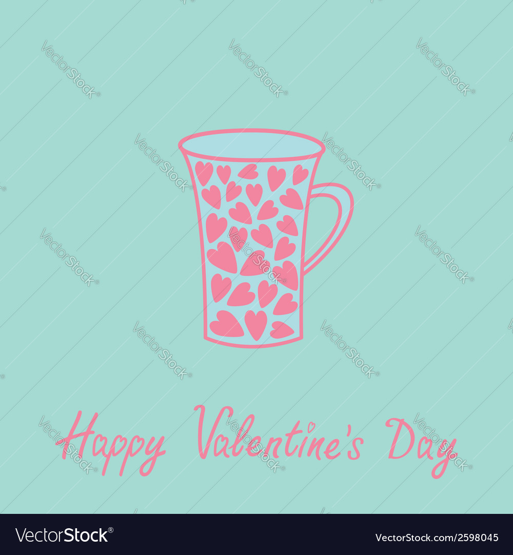 Love mug with hearts love card pink and blue vector | Price: 1 Credit (USD $1)
