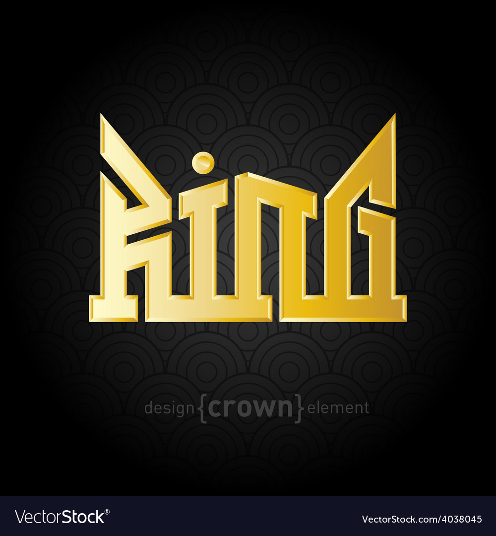Luxury golden king crown design element on vector | Price: 1 Credit (USD $1)
