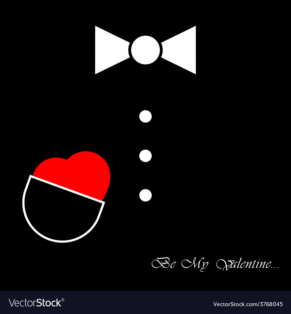 Mens suit with bow tie and heart vector | Price: 1 Credit (USD $1)
