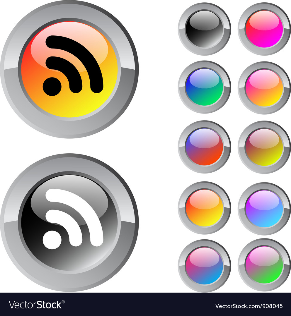 Rss multicolor round button vector | Price: 1 Credit (USD $1)