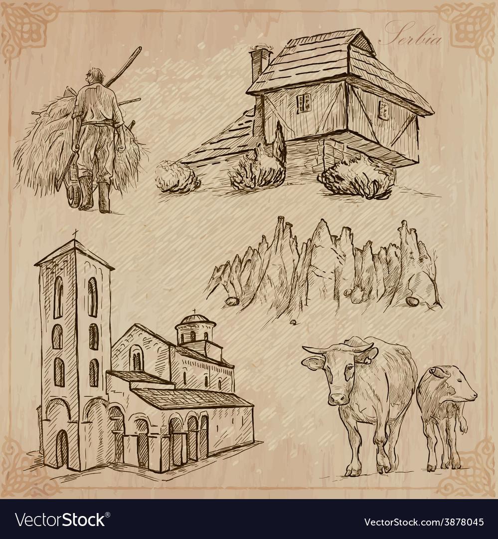Yugosavia travel hand drawn pack vector | Price: 1 Credit (USD $1)