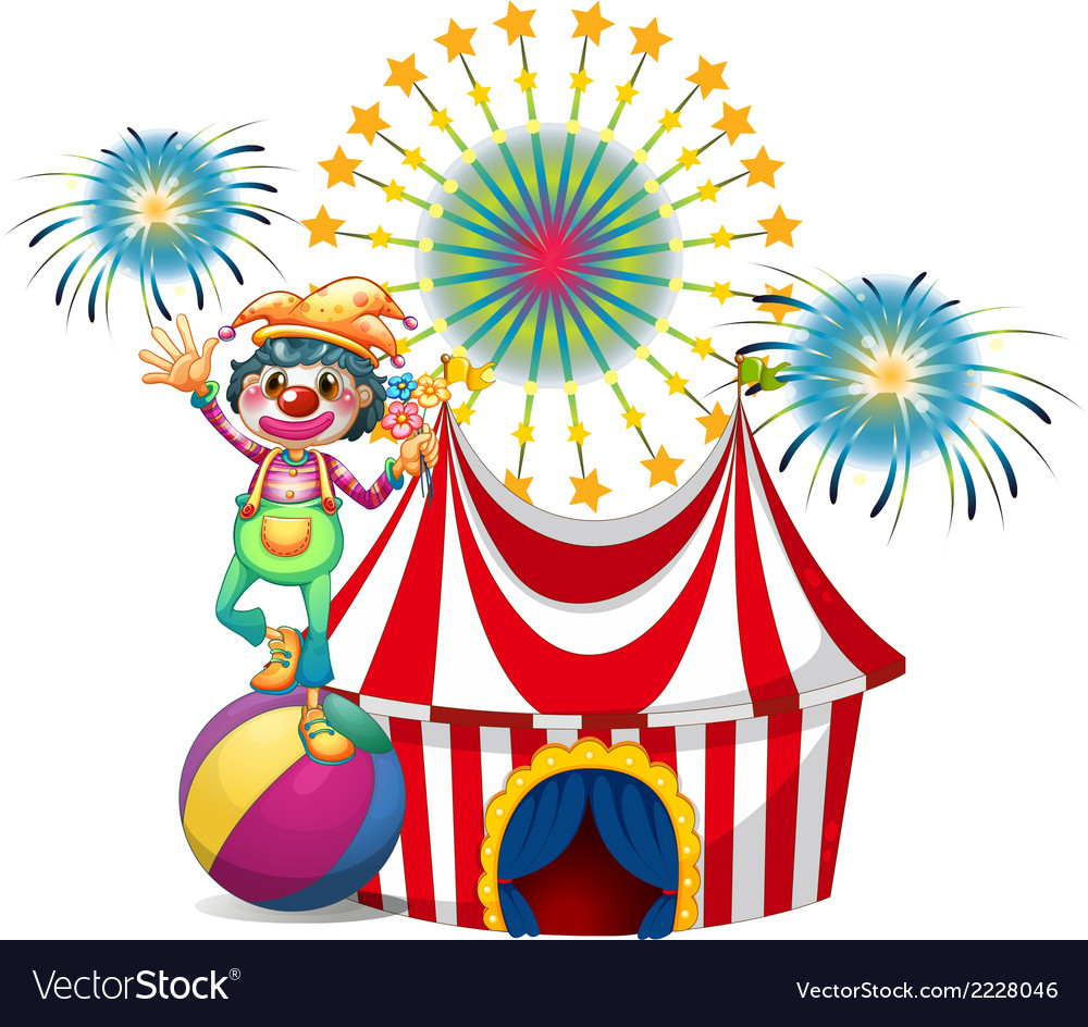 A clown near the circus tent vector | Price: 1 Credit (USD $1)