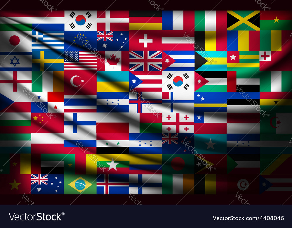 Big flag background made of world country flags vector | Price: 3 Credit (USD $3)