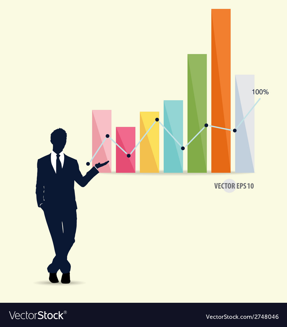 Businessman showing graph vector | Price: 1 Credit (USD $1)