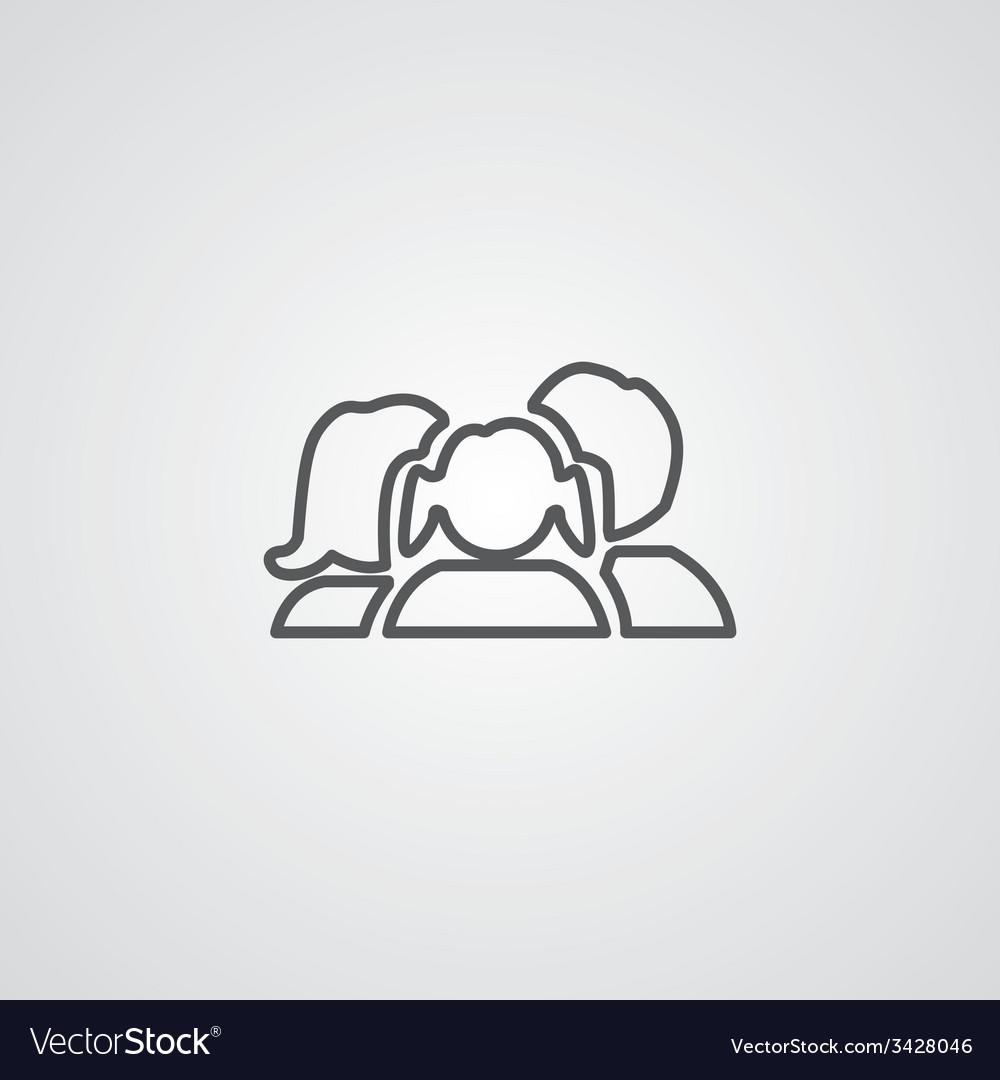 Family outline symbol dark on white background vector   Price: 1 Credit (USD $1)