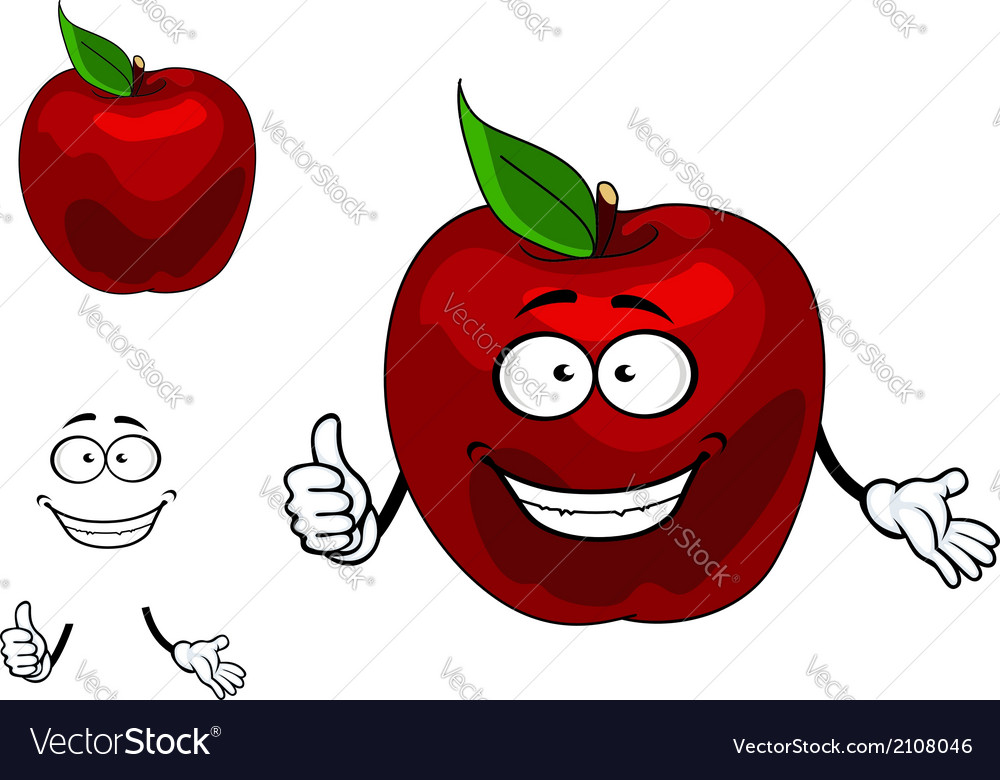 Happy red cartoon apple fruit vector | Price: 1 Credit (USD $1)