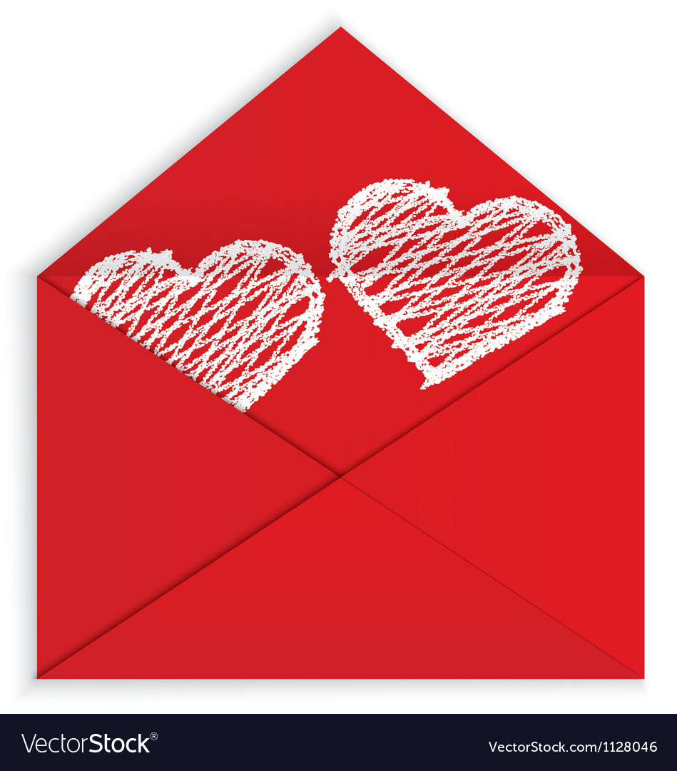Heart white crayon inside envelope vector | Price: 1 Credit (USD $1)